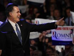 Former Massachusetts governor Mitt Romney appears at a victory rally Tuesday night in Manchester, N.H.