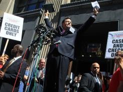 Stephen Colbert addresses the media after attending a Federal Election Commission hearing June 30, 2011, to ask for a media exemption to create PAC.