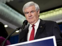 Republican presidential candidate Newt Gingrich speaks on primary night in New Hampshire.
