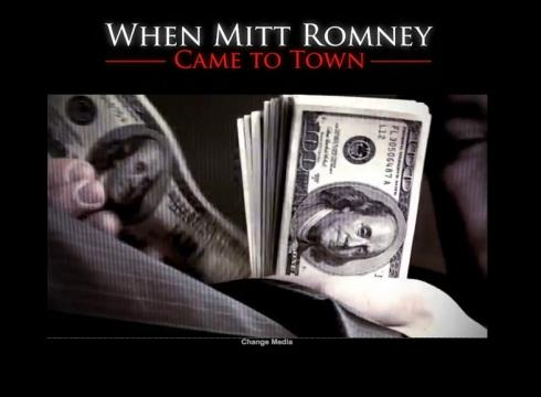 "... Bain,"" an ad attacking rival Mitt Romneys involvement in Bain Capital"