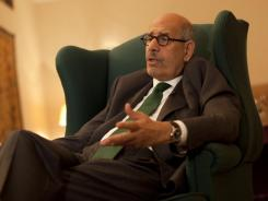 Pro-reform leader and Nobel peace laureate Mohamed ElBaradei speaks during an interview with The Associated Press in his home in Giza.