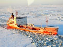 The Russian tanker Renda heads toward the Port of Nome on Friday.