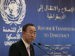 U.N. Secretary-General Ban Ki Moon speaks during the opening session of a conference on democracy in the Arab world Sunday in Beirut.