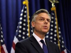 Former Utah governor Jon Huntsman announces that he is dropping out of the race for the 2012 GOP presidential nomination during a news conference in Myrtle Beach, S.C., on Monday.