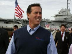 Former Pennsylvania senator Rick Santorum leaves a campaign rally in Charleston, S.C., on Tuesday.