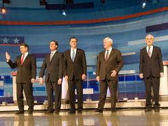 Republican presidential candidates take the stage for Monday's debate in Myrtle Beach, S.C. From left: Rick Perry, Rick Santorum, Mitt Romney, Newt Gingrich and Ron Paul.