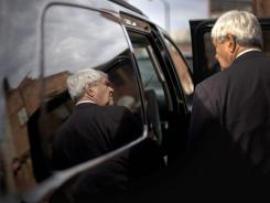 Trailing in the polls:  GOP presidential candidate Newt Gingrich leaves the Art Trail Gallery in Florence, S.C., on Tuesday after meeting with some supporters.