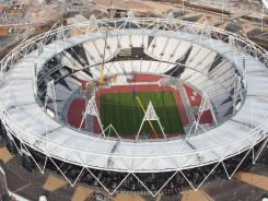 An aerial view of a section of the Olympic Stadium in London.