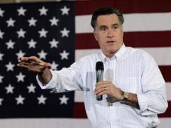 Republican presidential candidate Mitt Romney campaigns Tuesday at the Florence Civic Center in Florence, S.C.