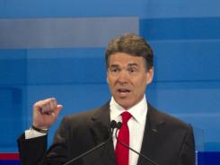 Republican presidential candidate Rick Perry speaks during the South Carolina debate on Monday, in Myrtle Beach, S.C.