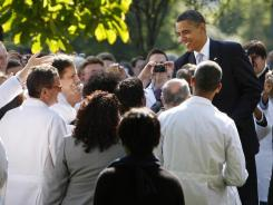 In the Rose Garden:  President Obama greets doctors after speaking about health care reform in 2009.