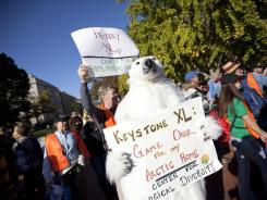 Keystone protest:  At the White House in November.