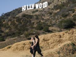 Women hiking in Griffith Park near the Hollywood sign close to the location where a human head, hands and feet were recently discovered.