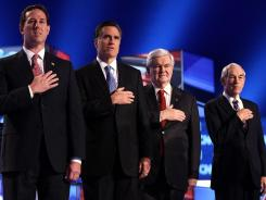 Republican presidential candidates former U.S. Sen. Rick Santorum, former Massachusetts Gov. Mitt Romney, former Speaker of the House Newt Gingrich and Rep. Ron Paul at a debate in Charleston on Jan. 19.