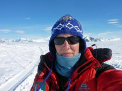 Felicity Aston takes a picture of herself on Nov. 19, 2011, days before she traveled to her starting point on the Ross Ice Shelf for a solo trek across Antarctica.