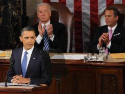 President Obama delivers the State of the Union address on Jan. 25, 2011, as Vice President Biden and House Speaker John Boehner, R-Ohio, look on.