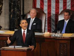 President Obama delivers the State of the Union Address on Tuesday as Vice President Biden and House Speaker John Boehner, R-Ohio, look on.