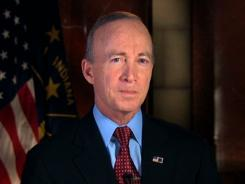 In this image from video, Indiana Gov. Mitch Daniels delivers the Republican response.