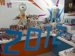 Olympic memorabilia featuring the 2012 Olympic mascots are pictured at the Toy Fair in London on Tuesday.