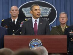 President Obama discusses revamped military strategy at the Pentagon on Jan. 5.