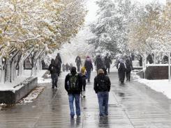 Students walk through Denver's Auraria Campus in October. An annual survey shows an entering freshman class that has a better chance than ever of succeeding academically, researchers say.
