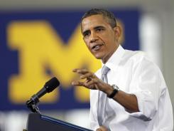 President Obama speaks Friday at the University of Michigan.