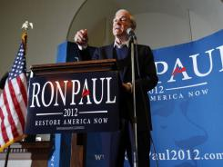 Ron Paul speaks during a Friday campaign stop in Bangor, Maine.