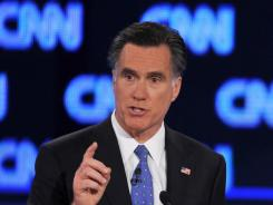 Former Massachusetts governor Mitt Romney speaks during Thursday's Republican presidential debate in Jacksonville.