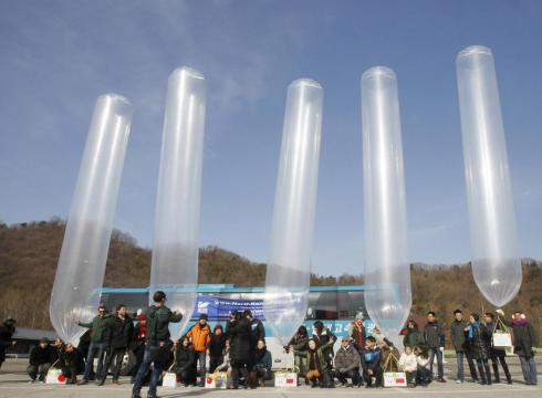 South Korean activists send socks to North Korea in balloons