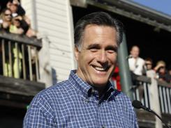 Republican presidential candidate and former Massachusetts Governor Mitt Romney campaigns at the Fish House in Pensacola, Fla., on Saturday.