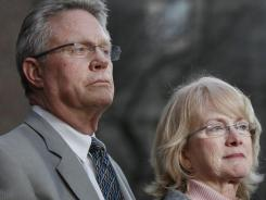 Jayna Murray's parents, David Murray and Phyllis Murray, are seen during a news conference after Brittany Norwood was sentenced to life without patrol on Friday.