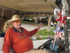 Bill LeBeau talks about his concerns over Social Security on Jan. 12 in The Villages, Fla. LaBeau says he likes Newt Gingrich's call for creating private investment accounts for younger adults.