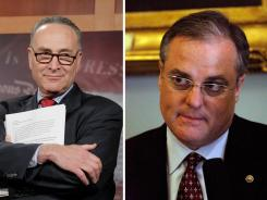 Sens. Charles Schumer of New York, left, and Mark Pryor of Arkansas said Sunday federal funding in a pending transportation bill should be used to train police in identifying drugged drivers.