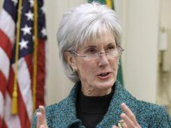 Health and Human Services Secretary Kathleen Sebelius speaks about Medicare insurance plans last February in Seattle.