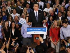 Republican presidential candidate Mitt Romney speaks during his Florida primary night party on January 31 in Tampa, Florida.
