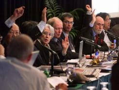 Faces of ICANN: Board members vote at a meeting outside Los Angeles in November 2000.