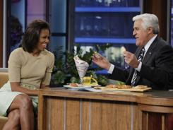 "First lady Michelle Obama talks with ""Tonight Show"" host Jay Leno on Tuesday."