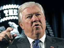 In this Dec. 20, 2011, file photo, Haley Barbour speaks in Jackson, Miss.