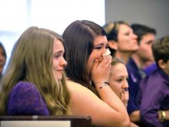 Somer Thompson's family reacts as they listen to details of the plea of Jarred Harrell, Feb. 3.