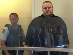 Megaupload founder Kim Dotcom, shown in a Jan. 25 court proceeding, was denied bail.