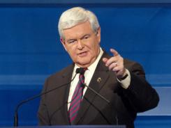 Former House speaker Newt Gingrich participates in a GOP presidential debate in Myrtle Beach, S.C.