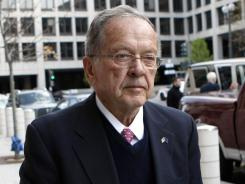 Former Alaska senator Ted Stevens arrives at federal court April 7, 2009, in Washington. Stevens died in a 2010 plane crash.