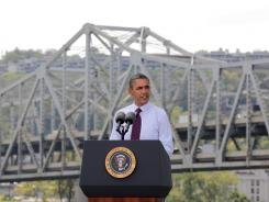 President Obama delivers remarks in Cincinnati at the Brent Spence Bridge on Sept. 22, 2011. The president has pushed for construction projects for roads and bridges.