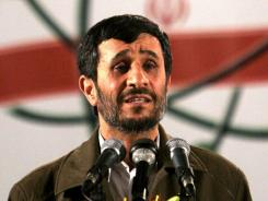 Iranian President Mahmoud Ahmadinejad speaks at a ceremony in Iran's nuclear enrichment facility in Natanz in 2007.
