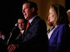 Rick Santorum addresses supporters Tuesday night in St. Charles, Mo.