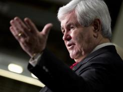 Former House speaker Newt Gingrich speaks during a campaign stop in Cleveland on Wednesday.