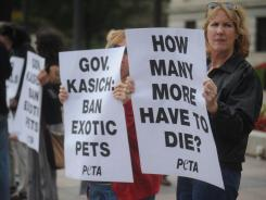 PETA held a small rally Oct. 26, 2011, in front of the Ohio Statehouse. The rally was in response to the exotic animals that Terry Thompson set free before he took his own life.