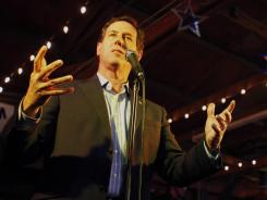 Rick Santorum speaks to supporters in Plano, Texas, on Wednesday.