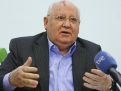 Former Soviet leader Mikhail Gorbachev delivers a lecture at the International University he founded in Moscow on Feb. 9.