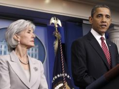 President Obama, accompanied by Health and Human Services Secretary Kathleen Sebelius, announces the revamp of his contraception policy on Friday.